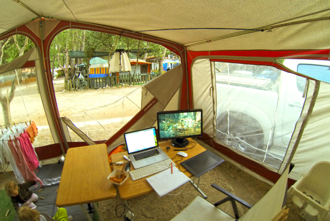 My tent workspace